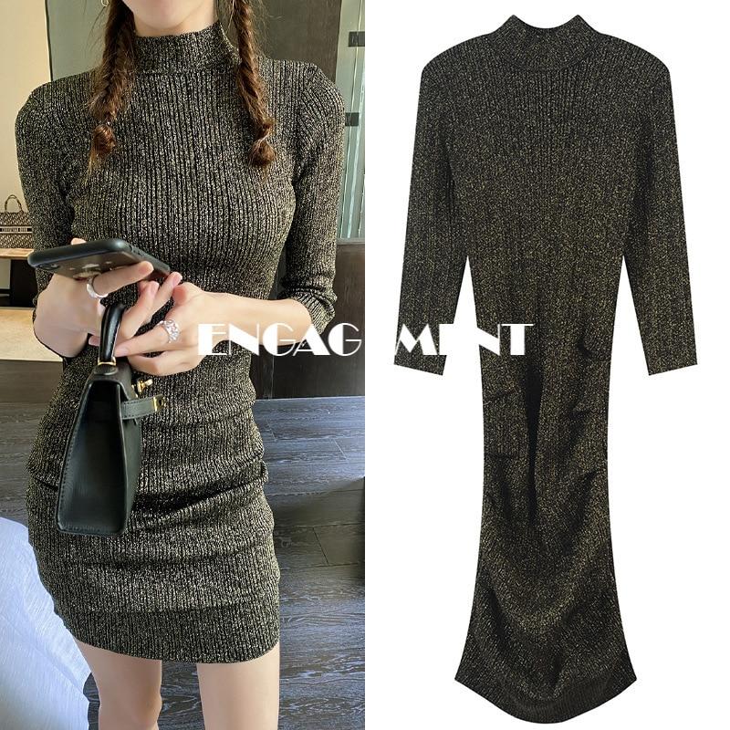 ENGAGEMENT   Autumn/winter 2021 New Women's Elegant Temperament Round Neck Slim Fold Seven-point Sleeve Knit Dress