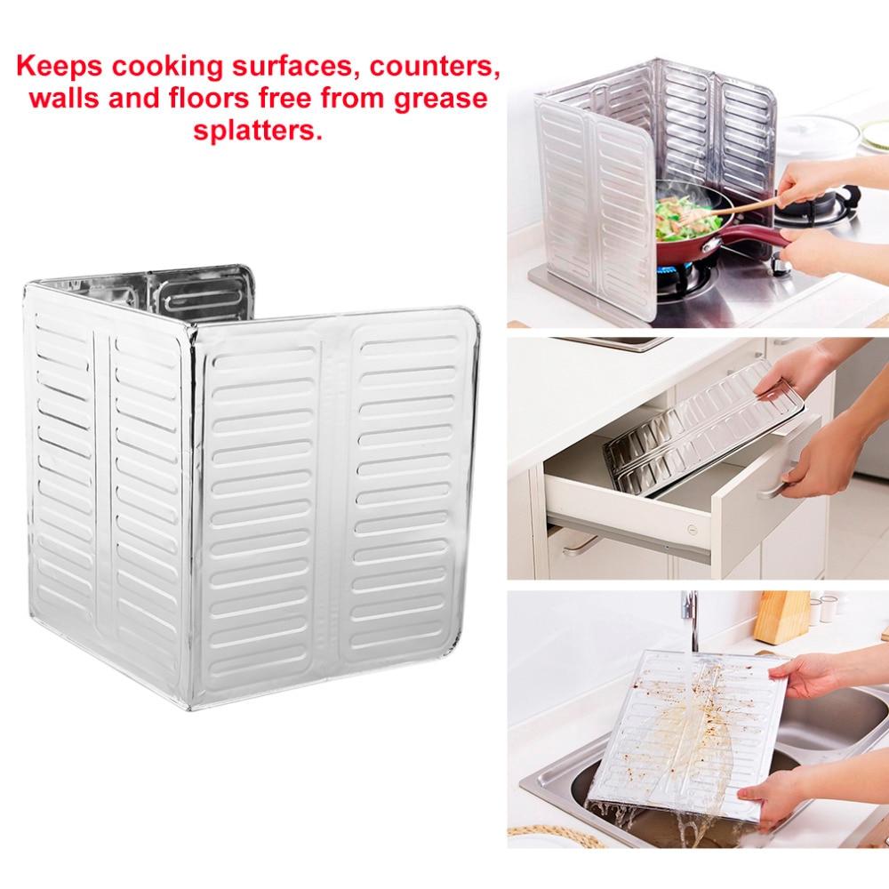 Aluminum Frying Pan Oil Splash Screen Cover Non-stick foldable Kitchen Cooking Frying Oil Splash Guard Board Kitchen Tools