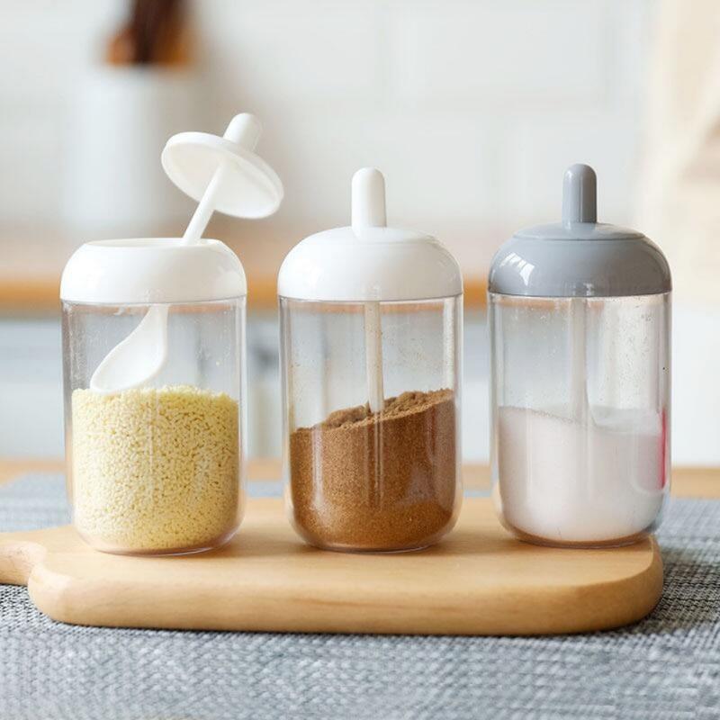 Plastic Condiment Bottles With Spoon Kitchen Seasoning Salt Oil Coffee Beans Spice Jar Home Paprika Garlic Storage Box Supplies