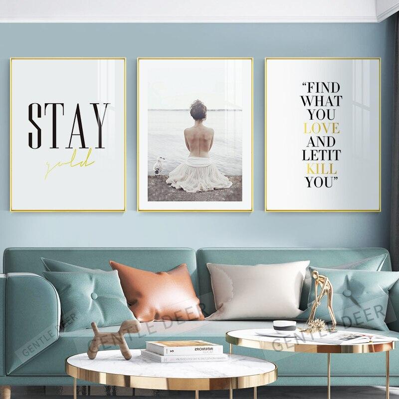 Minimalisme belle dame citations affiche A4 toile impression mur Art photo nordique décor à la maison Art affiches pas de cadre peinture