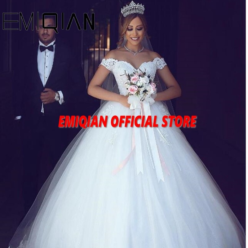 Elegant A-Line Sweetheart Off the Shoulder Court Train Tulle Wedding Dress See-through Back Applique