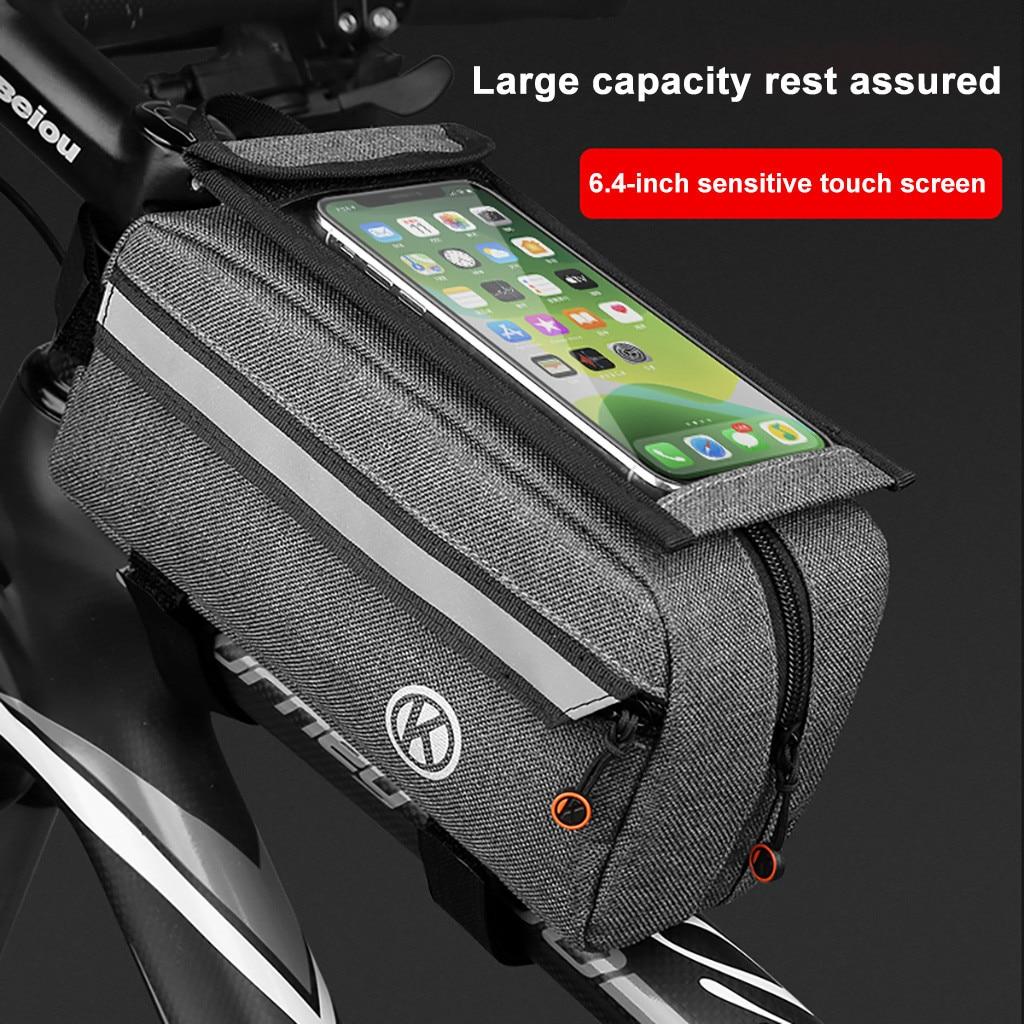 Bolsas de bicicleta de gran capacidad bolsa de pantalla táctil frontal de bicicleta para teléfono de 6,4 pulgadas MTB/Ciclismo de Carretera bolsa de Alforja accesorios de bicicleta