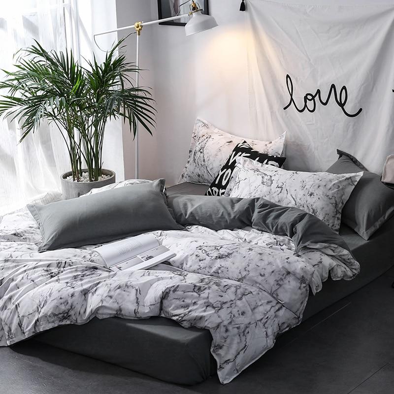 Nordic Linens 3pcs Double bed linen bedding set Twin Queen size Quilt cover double duvet Bedclothes Pillowcase for Home textiles