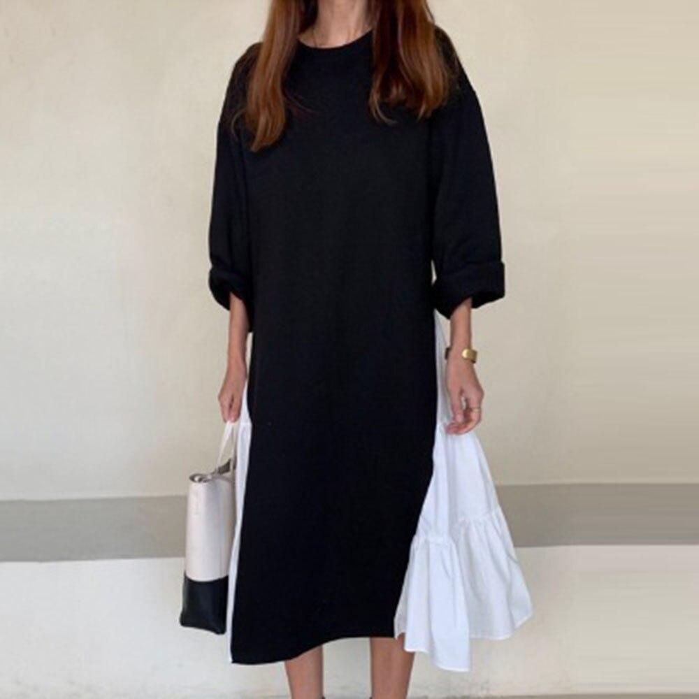 Primavera Vestido de manga larga mujeres Pullover negro N blanco Patchwork asimétrico media pantorrilla vestidos largos Corea chica ropa casual