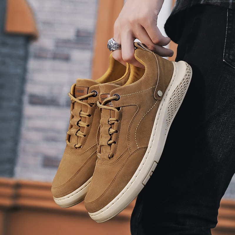 Rebanho camurça dos homens sapatos casuais welt costura tênis deslizamento de borracha resistente sapatos masculinos de luxo para sapatos de lona masculina lazer