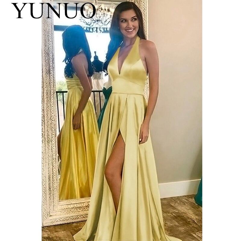 YuNuo Halter cuello largo vestidos De graduación una línea De satén sin mangas con bolsillos Vestido De Fiesta Formal De noche Vestido De Fiesta N76