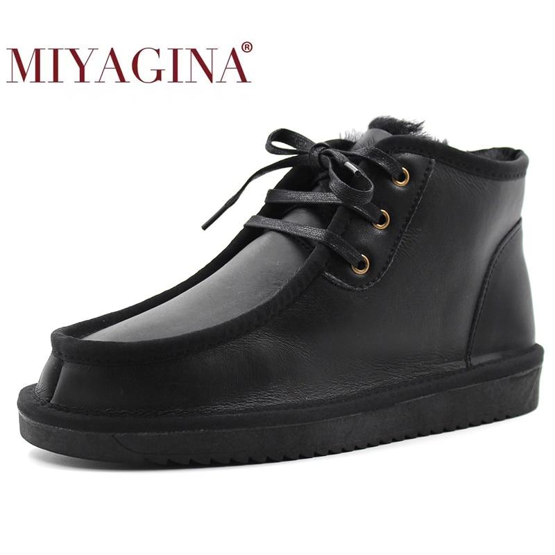 MIYAGINA 2021 جديد الموضة خمر الرجال الدانتيل متابعة جلد الغنم الحقيقي الفراء الطبيعي الثلوج أحذية الرجال مقاوم للماء حذاء من الجلد غير رسمي