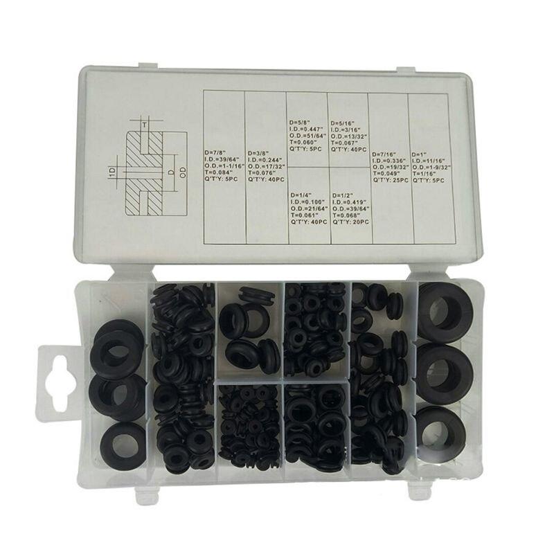 Conjunto de sortimento de borracha redondo do grommet dos pces 180 ferramenta elétrica do anel da gaxeta do condutor para cabos, plugues & fios