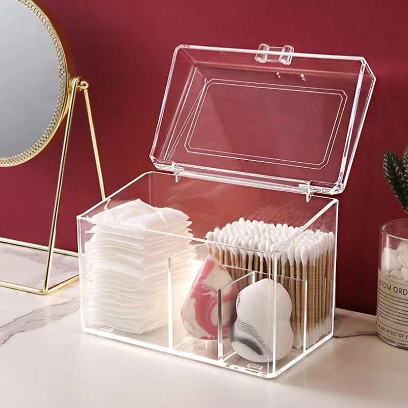 Dustproof Acrylic Makeup Organizer for Cotton Pads/Swab/Beauty Blender Storage Box with Lid Lipstick/Nail Polish Organizer