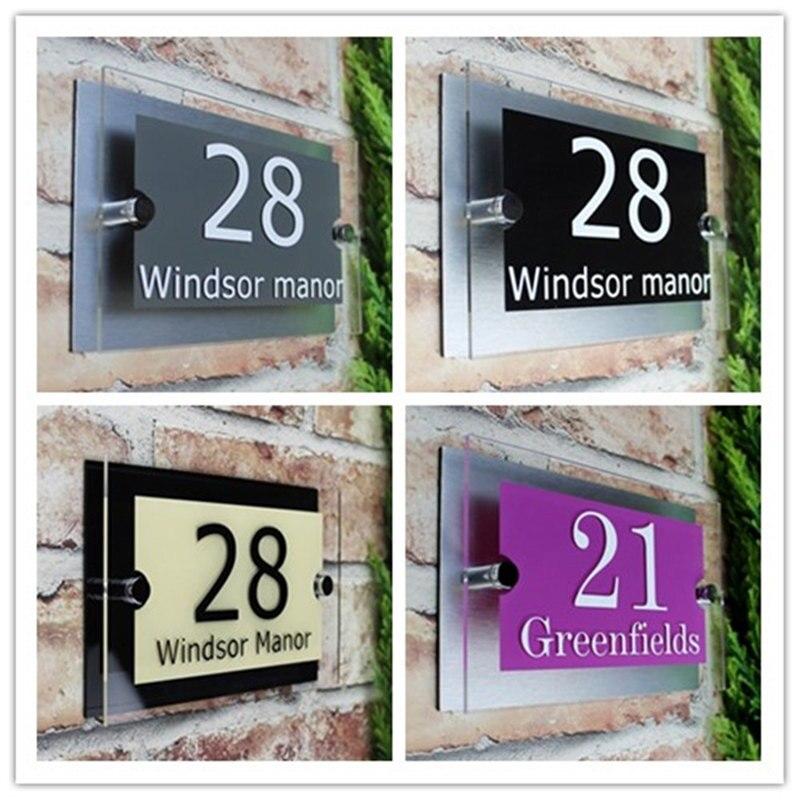 Personalizar 200x140mm signo de Casa moderno placa puerta número calle vidrio efecto acrílico nombre