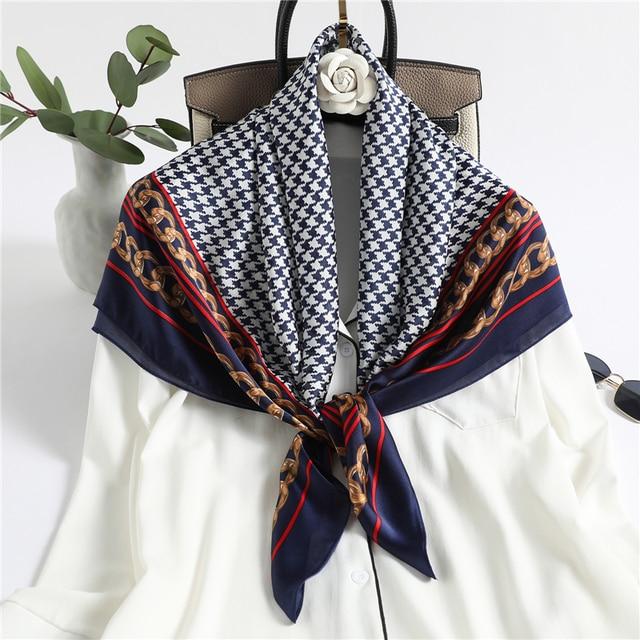 Design Plaid Women Silk Square Scarf for Neck Hijab Headband Shawl Wraps Female Foulard Bandana Large Scarves Tie 2021 New
