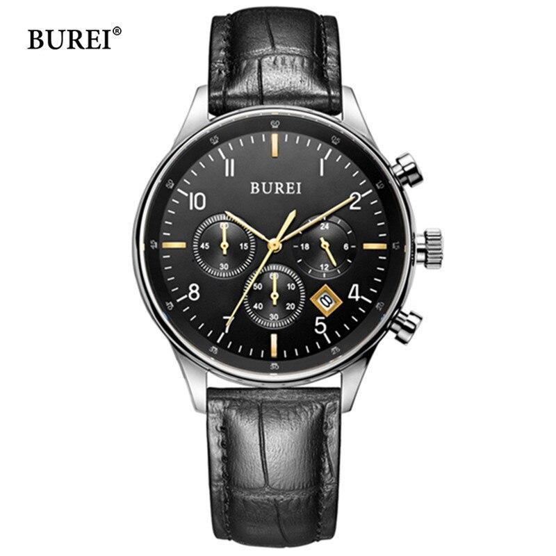 BUREI Brand Fashion Business Quartz Wrist Watch Man Luxury Waterproof Chronograph Calendar Casual Wristwatches Relogio Masculino