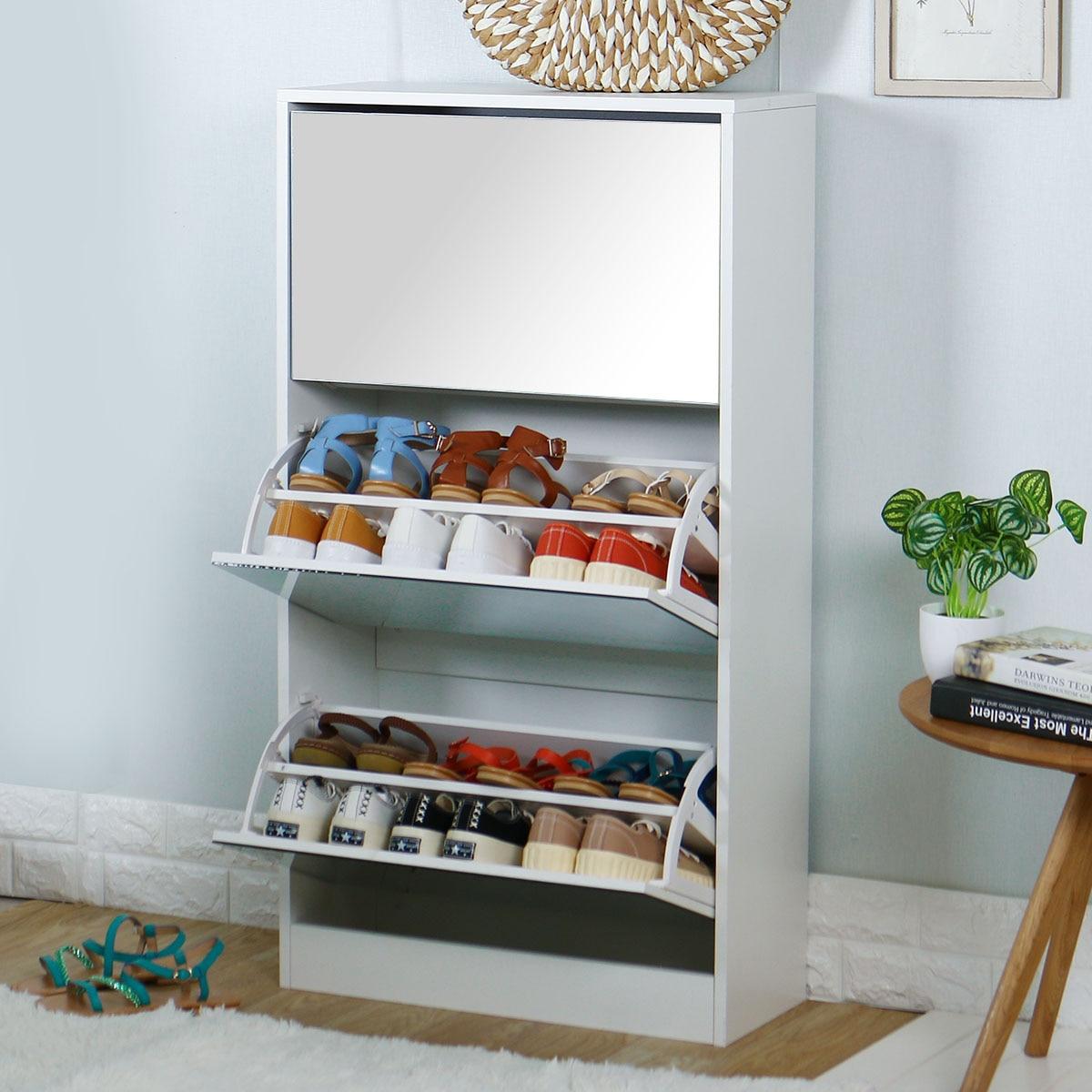 رف أحذية بمرآة من 3 مستويات ، أثاث ، مدخل ، غرفة معيشة ، خزانة أحذية ، حامل أحذية موفر للمساحة ، منظم أحذية