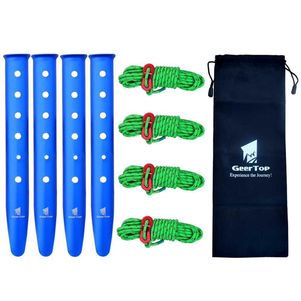 GeerTop колышки и веревка с Натяжителем аксессуары для палаток для кемпинга Светоотражающие лески для гамака для походов