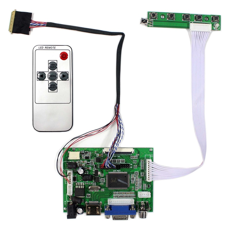Драйвер платы для B156HW01 / B156HW01 V5 / B156HW01 V1 1366x768 ЖК-дисплей светодиодный Экран 2AV VGA + HDMI-совместимый контроллер доска комплект