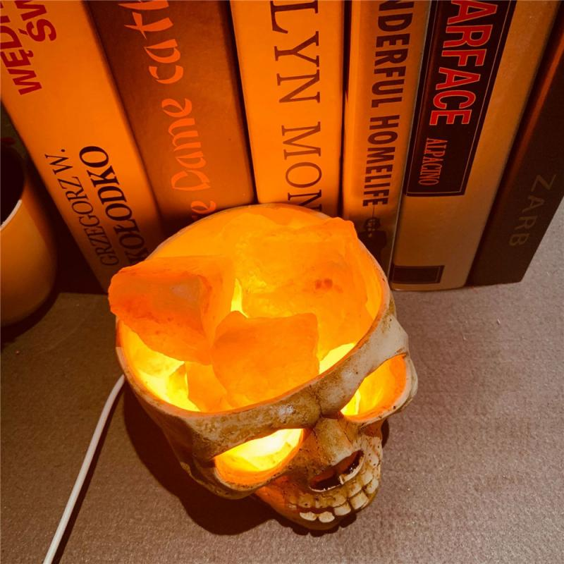 2020 New Hot-selling European And American Style Skull Pakiatan Himalayan Crystal Salt Lamp USB Dimmable Night Light Supplies enlarge