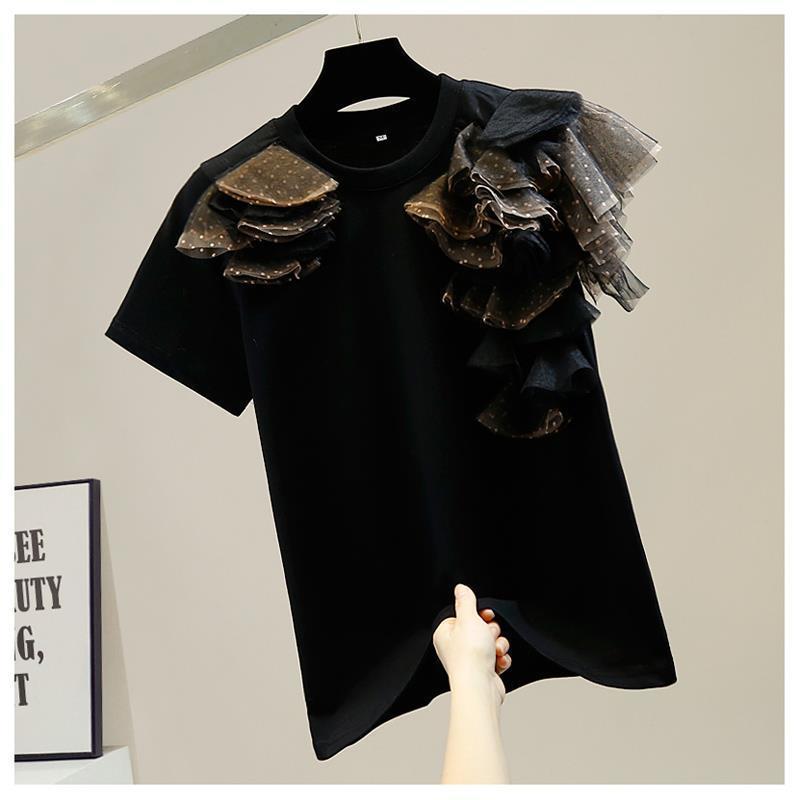Модный новый дизайн, трехмерная сетчатая Лоскутная футболка в горошек с круглым вырезом и коротким рукавом, женские универсальные Топы