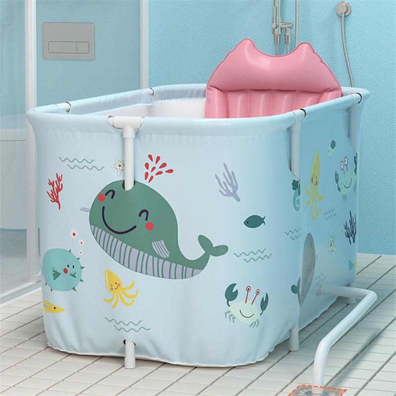 Portable Folding Bathtub for Adult Children Swimming Pool Large Plastic Bathtub Bath Bucket Insulation Bathing Bath Tub W/ Cover enlarge