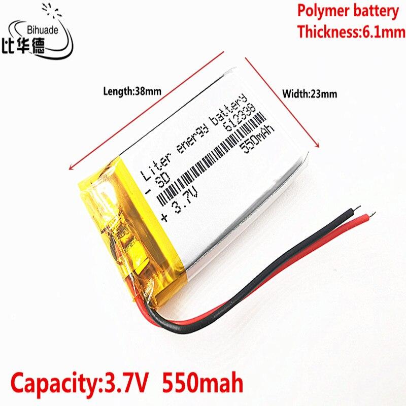 Gute Qulity Polymer batterie 550 mah 3,7 V 612338 smart home MP3 lautsprecher Li-Ion batterie für dvr,GPS,mp3,mp4, handy, lautsprecher