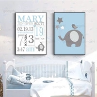 custom baby birth time weight information wall painting celebration of baby newborn nordic blue minimalist printing decor poster
