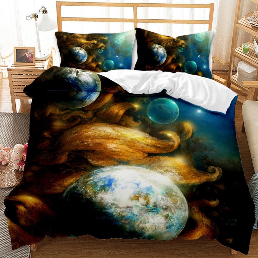 كوكب الكون واسعة ثلاثية الأبعاد طباعة طقم سرير التوأم كامل الملكة لحاف سرير الحجم المزدوج مجموعة الكتان المنسوجات المنزلية لحاف