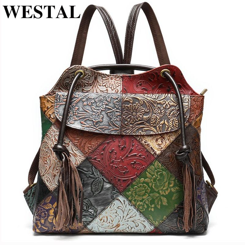 ويستال الأزهار حقيبة الظهر للسيدات جلد طبيعي موضة محمول حقيبة ظهر مدرسية للمراهقات الأنثوية على ظهره للنساء mochila