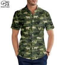 Hawaiian Strand Zomer Mode Korte Mouw Jacht Dier Varken/Kip/Koe Print 3d Mens Shirt Casual Harajuku tee Shirts
