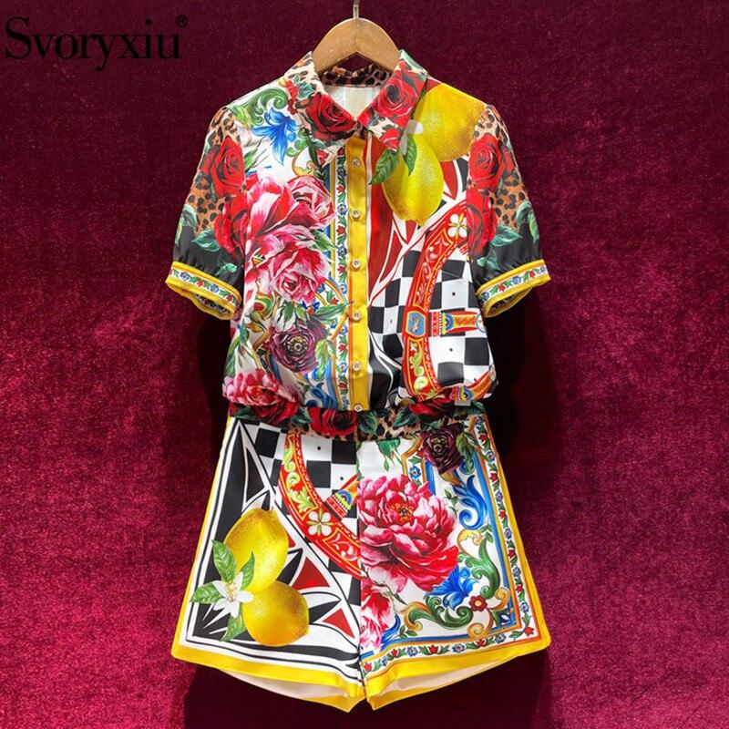 Svoryxiu/2021 Повседневный праздничный комплект из двух предметов, женский модный костюм с коротким рукавом и принтом лимонов + шорты