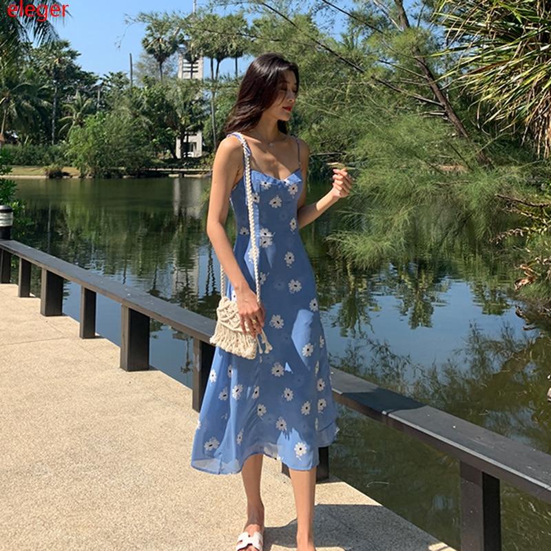 Lange Frauen Floral Print Blau Sommerkleid Sommer Elegante Party Urlaub Strand Tropical Kleid Backless Koreanische Runway 2020 Vestidos