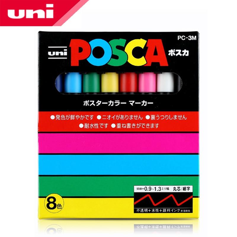 Mitsubishi Uni Posca PC-3M Paint Marker- Fine Tip-0.9mm-1.3mm 8 colors/box Art Markers Office & School Supplies