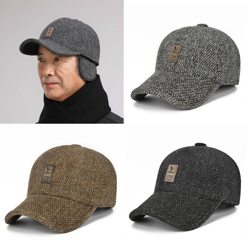 Зимние новые высококачественные однотонные простые наушники, бейсболки, шерстяные кепки, теплые 2021 спортивные кепки, мужские хлопковые кеп...