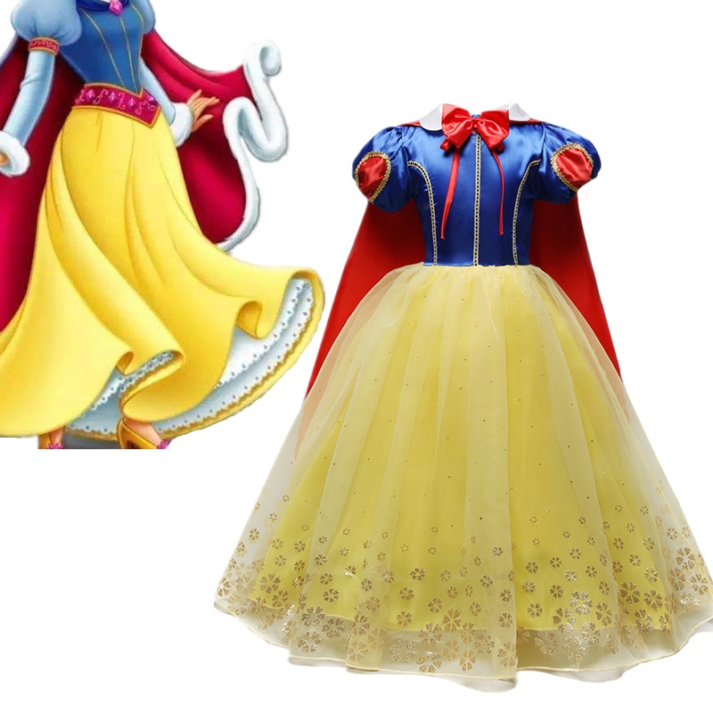 4-10 lat fantazyjne Cosplay księżniczka śnieżka kostium dziewczyny sukienka na wakacje Halloween suknia boże narodzenie odgrywanie ról ubrania dla dziewczynek
