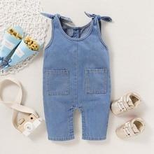 New Baby Denim Rompers Newborn Girls Solid Print Jumpsuit Sleeveless Strap Romper Infant Boys Casual