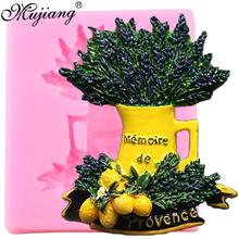 Mujiang Provence Vase de fleurs Silicone   Moule de fleur, moule de Fondant, outils de décoration de gâteaux, moule citron, bonbons argile, chocolat, Gumpaste