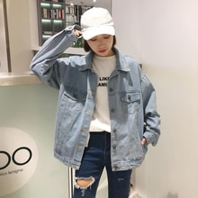 Spring 2021 New Korean BF Long Sleeve Tooling Top Retro Hong Kong Style Denim Jacket Women's Ins Fas
