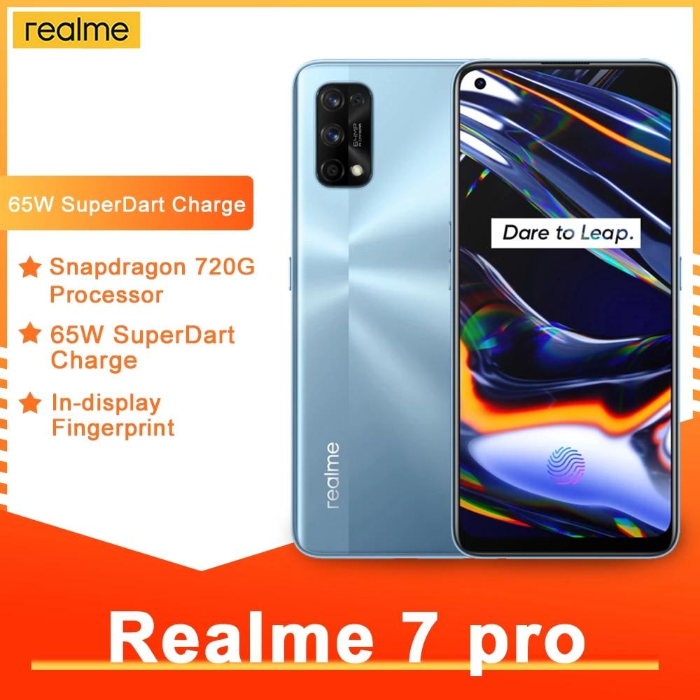 Realme 7 Pro 8 Гб 12 Гб глобальная смартфон 65 Вт Быстрая зарядка отпечатков пальцев разблокированная полный экран мобильного телефона Snapgragon 720 г иг...