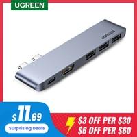 Сетевой концентратор UGREEN, USB Type-C 3,0, 4K, HDMI, для MacBook Pro Air, док-станция Thunderbolt 3, USB C 3,1
