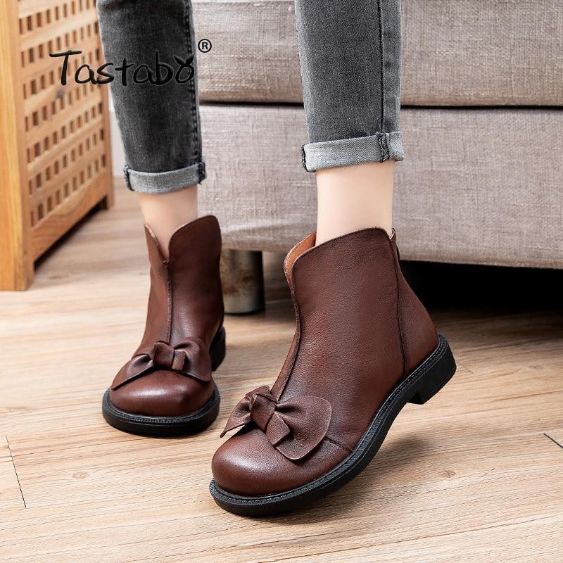 حذاء نسائي من الجلد الطبيعي مع فيونكة ، حذاء مسطح وسحاب ، مقدمة مستديرة ، خريف 865