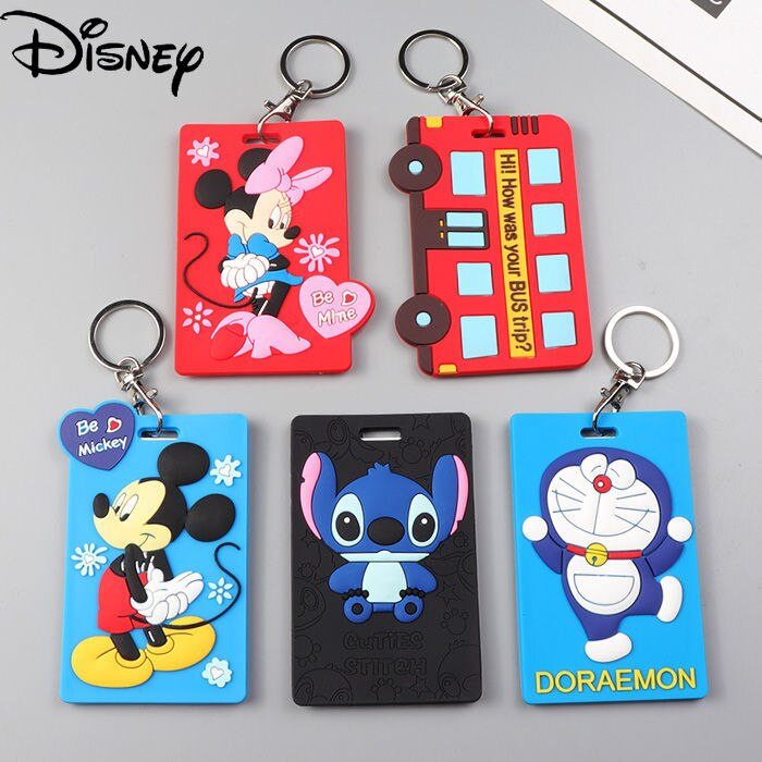 Disney Cartoon Pattern Printing Bus Card Campus Access Cover Keychain Meal Protective Silicone