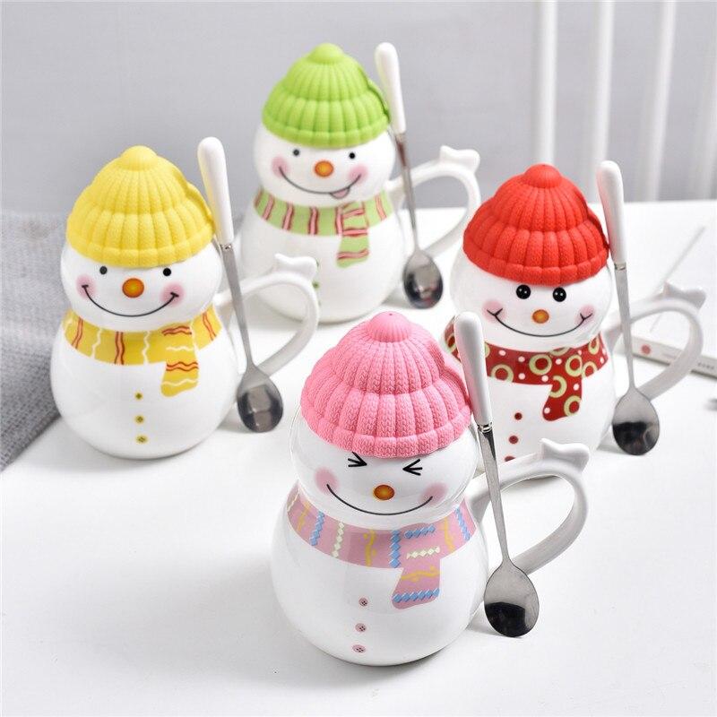 620ML new Christmas ceramic coffee cup 3D snowman creative cartoon milk breakfast cup Christmas gift  WF1115318