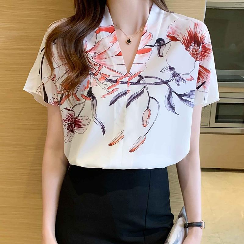 Women's Shirt Summer Floral Blouses For Women Short Sleeve Tops Women Printing V-Neck Blouse Tops Female 2021 Woman Basic Shirts