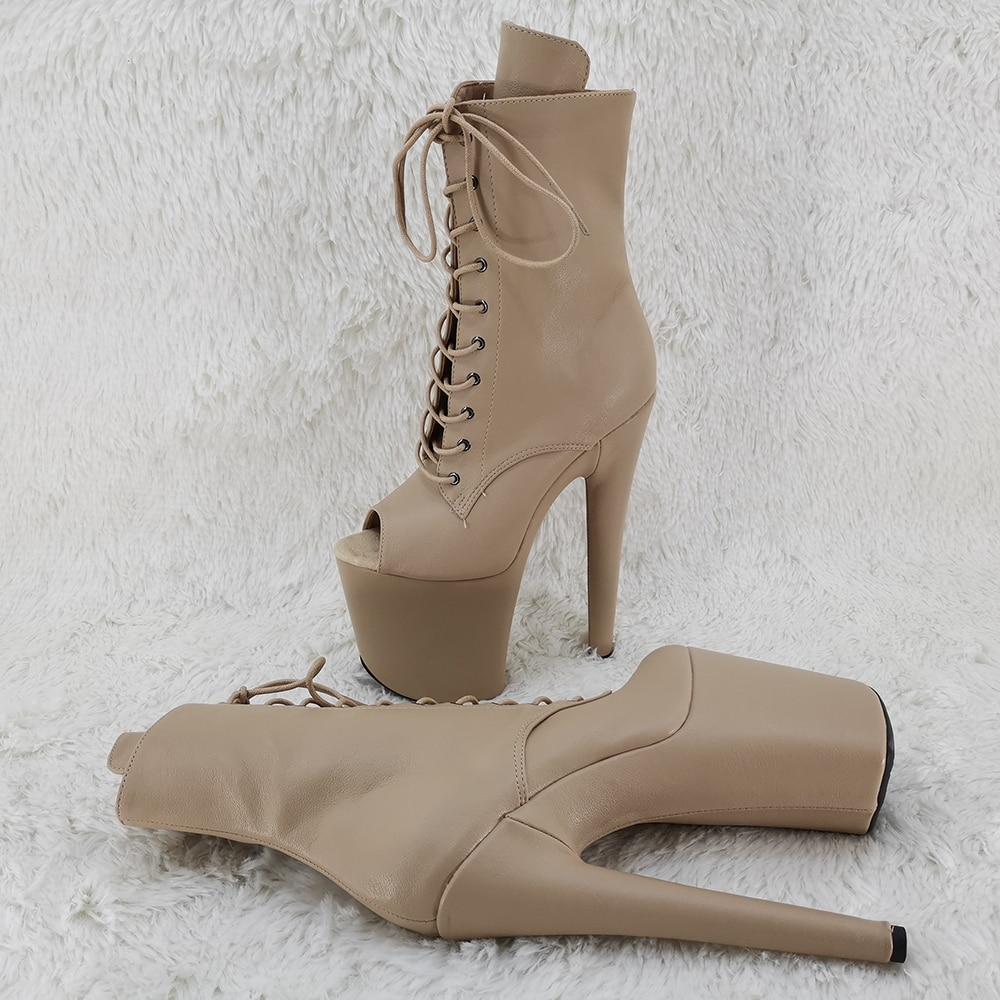 Leecabe 20CM/8Inch open toe lace up  boots for lady  High Heels  platform Pole Dance boot