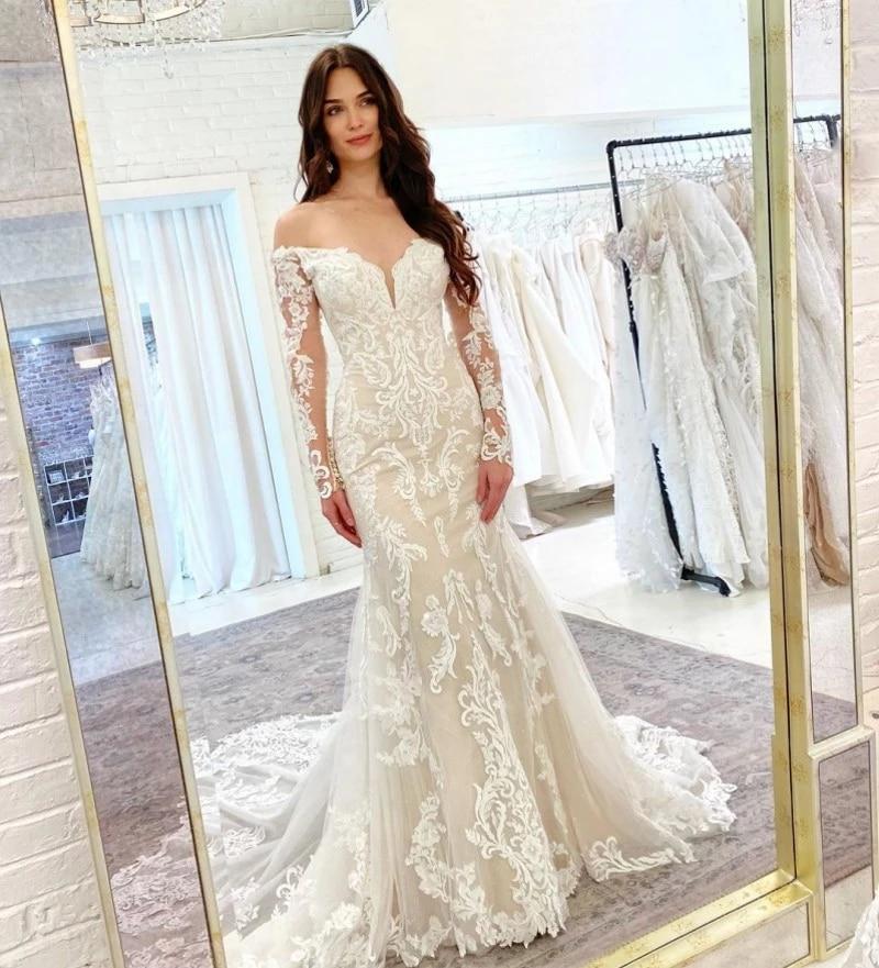 Get Vestidos De Novia Elegant Lace Mermaid Wedding Dresses Applique Long Sleeves Bridal Gowns 2021 V Neck robe de soirée de mariage