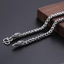 Neue 6mm Dicken Initial Name Halskette 100% 925 Sterling Silber farbe Männer Drache skala kette mode Halskette Anhänger Lange schmuck