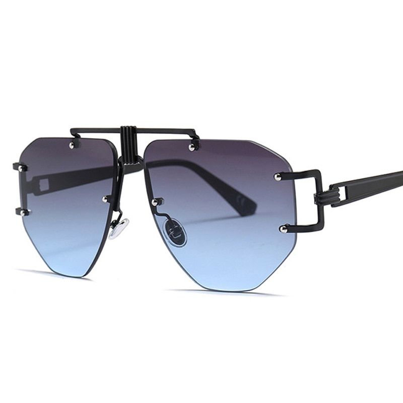 Nova moda oversized sem aro óculos de sol para mulher irregular liga quadros exclusivos máscaras senhoras óculos de sol uv400