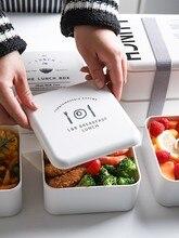 Boîte à lunch pour four à micro-ondes   Cherry Simple Ins Protection de lenvironnement PP boîte à déjeuner divisée à deux niveaux avec couvercle pour wor