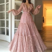 2021 glittery gold long sleeve prom dresses v neck sparkly formal evening party ball gown robe de soiree