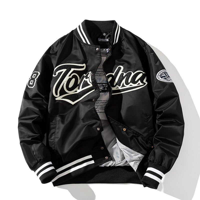 Bomber jacket men Streetwear Slim thin windbreaker Mens Harajuku embroidery Hip Hop Jackets Casual Outwear hooded  Jacke