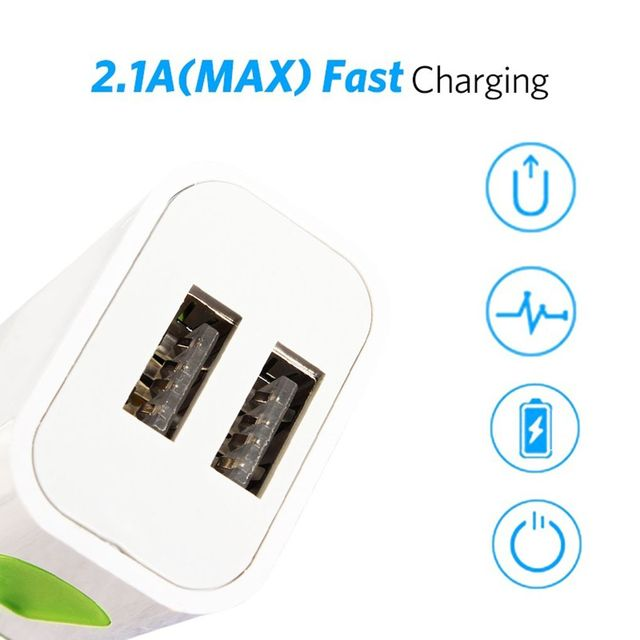 Phone Fast Wall Charging Universal 2.1A 5V LED 2 USB Charger Adapter US/EU Plug USB Charger For iPhone For Samsung For HTC 10
