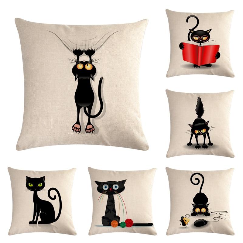 45*45 см с рисунком кота из хлопка и льна наволочка для подушки украшение дома диван-кровать Декор декоративная наволочка